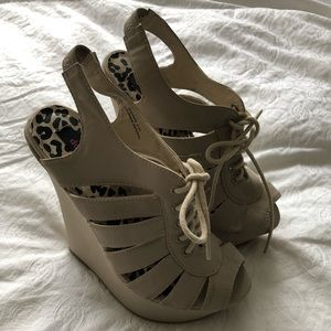 Never worn! Strappy open toe wedges